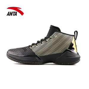 2018 Anta KT Klay Thompson SHOCK THE GAME 2 Men's Basketball Outdoor Sneakers - Black/Gold