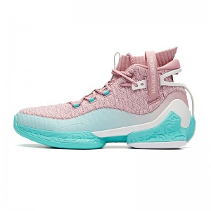 "Anta 2019 UFO 2 Men's High Tops Basketball Shoes - ""Alien"" - Pink/Green"
