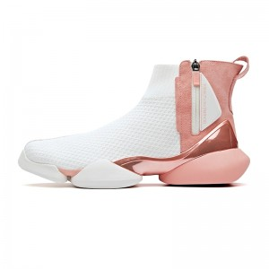 "Anta 2019 Spring New Men's UFO ""Creation"" Sock-like Fashion Basketball Causal Shoes - Pink/White"