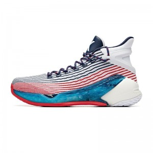 Anta 2019 Summer New Klay Thompson KT4 Final Basketball Sneakers - White/Blue/Red