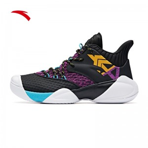 "Anta 2019 Klay Thompson KT4 ""Shock The Game"" High Basketball Shoes - Black/Purple/Yellow"
