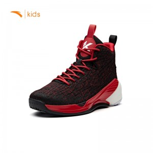 Anta Kids KT4 Klay Thompson Basketball Shoes -  Black/Red [31851199-2]