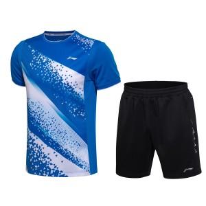Li-Ning 2017 Men's Badminton Series Team Match Suit one Tee Shirt One Pants - White/Blue/Black