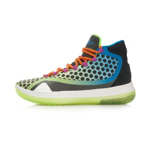 Li-Ning Bow Bite Men's High Top Professional Basketball Shoes - Black/Green/ Blue
