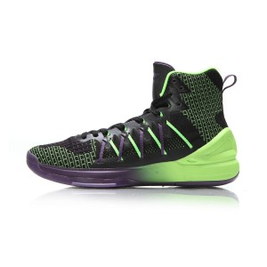 Li-Ning 2017 Ghost Men's High Top Professional Basketball Shoes - Black/Green
