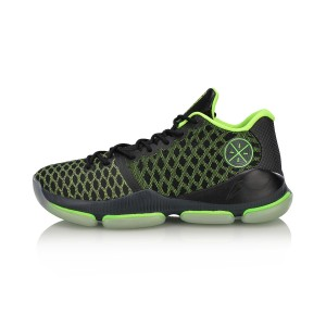 Li-Ning 2018 Fall Wade Fission 3 Men's Professional Basketball Game Sneakers - Green/Black
