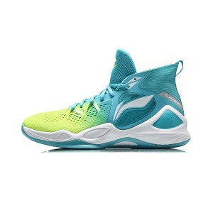 Li-Ning 2018 New Fighting Falcon Mens Mid Professional Basketball Game Sneakers - Green/Blue