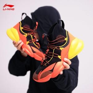 Li-Ning 2019 Power VI Men's High tops Bounse Basketball Sock-like Game Shoes - Black/Orange