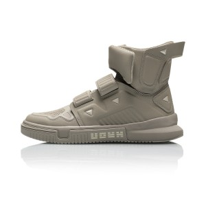 "Li-Ning 2019 Spring New Trace Series ""Cang Yi"" Men's High Tops Fashion sneakers - Grey"