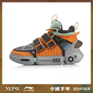 China Li-Ning 2019 New York Fashion Week Essence ACE+ Men's High tops Casual Shoes - Black/Grey/Orange [AGWP027-1]