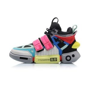 China Li-Ning 2019 New York Fashion Week Essence ACE+ Men's High tops Casual Shoes - Green/Black/Pink [AGWP027-12]