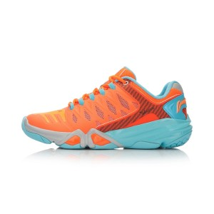 Li-Ning Multi Accelerate 3.0 Mens Cushion Badminton Professional Shoes - Orange/Water Blue/Grey
