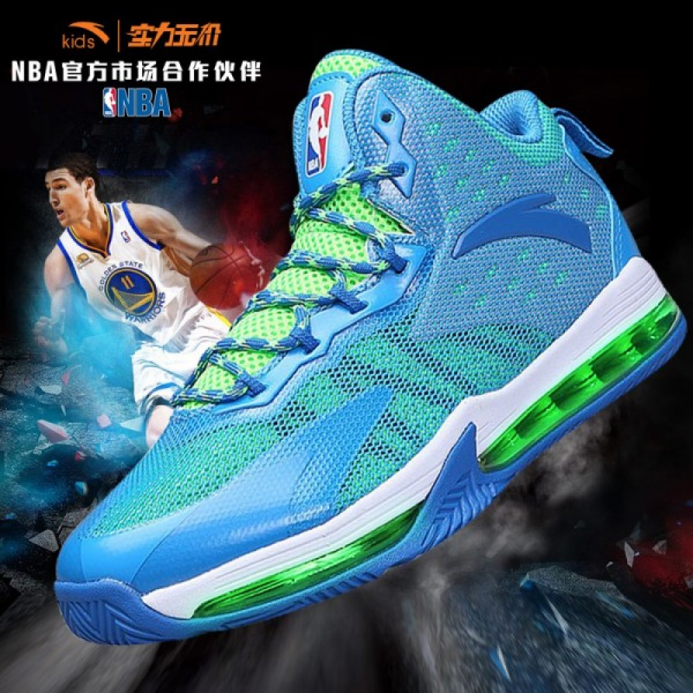 2017 Anta X NBA Kids Cushioning Basketball Shoes Youth High Top Sneakers-  Blue Green 9a332773b7bd