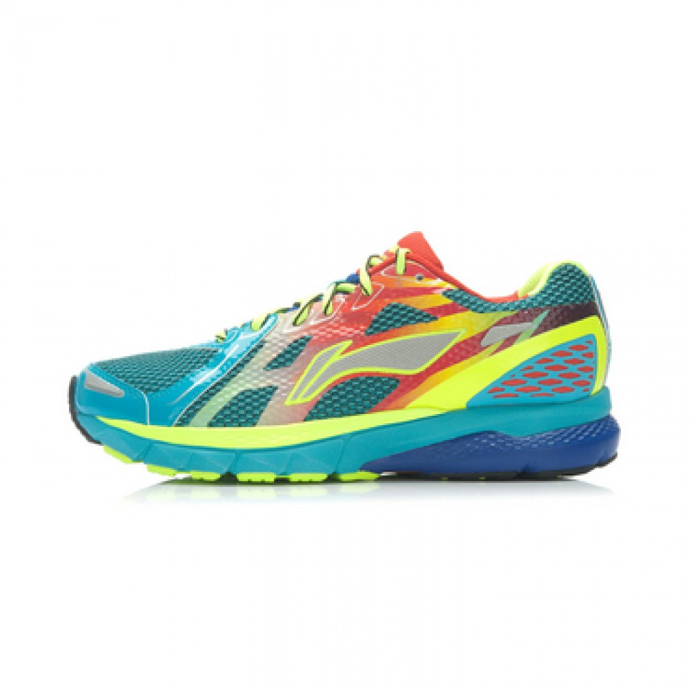 Li-Ning Men's High-Tech Damping Stability Running Shoes - Bright Fluorescent Green/Butterfly Blue/Bright Red