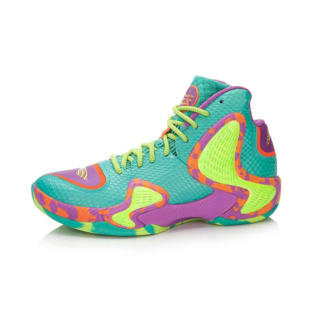 Li-Ning Phantom Flyer Mens Professional Basketball Shoes - Green Jade/Plum Purple/Carrot Orange