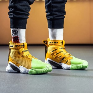 Anta 2018 UNCEL FUN 1.0 SHOCK THE GAME Men's Basketball Shoes - Yellow/Green