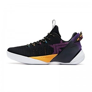 2019 Summer Anta Klay Thompson Shock The game 3.0 Low Basketball Shoes - Black/Yellow/Purple