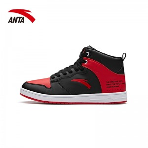 Anta 2018 Fall Men's High tops Skateboard Shoes - Red/Black | Anta Fashion Casual Sneakers