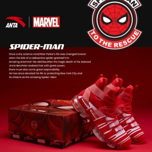 "Anta X Seeed Series Marvel Memorial Edition - ""SPIDER MAN"" Basketball Fashion Sneakers - Red"