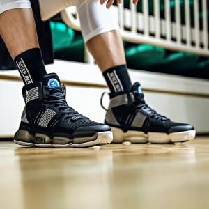 Anta x NASA Seeed Series Men's Professional High Tops Basketball Shoes - Black/Gold