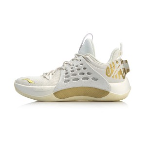 2018-19 Season CBA Championship Glory Sonic VII Low Professional Basketball Shoes - White/Gold