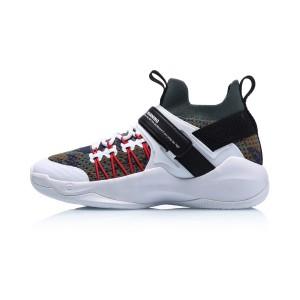 Li Ning 2019 New Warning Men's Sock-Like Professional Basketball Shoes - White/Black