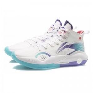 Li-Ning 2021 YUSHUAI XV 15 Men's Professional Basketball Competition Shoes - White/Blue/Purple