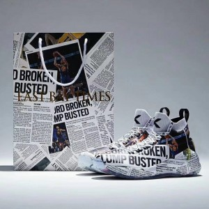 """Anta KT4 """"EAST BAY TIMES"""" Klay Thompson Newspaper Basketball Sneakers Limited Released"""