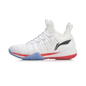 2019 New Style Li-Ning Cool Shark Men's Professional Badminton Shoes - White/Red [AYZP005-1]