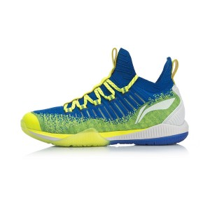 2019 New Style Li-Ning Cool Shark Men's Professional Badminton Shoes - Blue/Green [AYZP005-2]