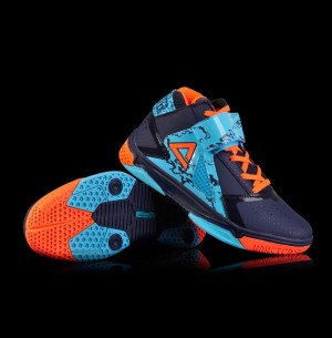 Peak 2016 Spring Monster 3.4 Professional Basketball Shoes - Navy Blue/Red