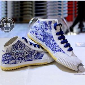 """Custom Feiyue Delta Mid Shoes - """"Green Dragon"""""""