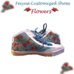 "Custom Feiyue Delta Mid Shoes - ""Flowers"""""