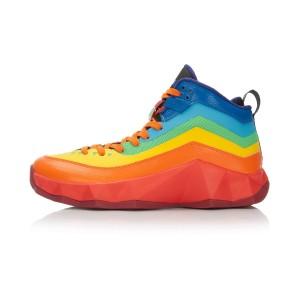 Li-Ning Rebirth Rainbow Mens High Top Outdoor Basketball Shoes - Golden Orange/Cinnabar Red