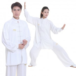 Li Ning Mens Womens Milk Fiber Martial Arts Tai Chi Kung Fu Clothing Suit White