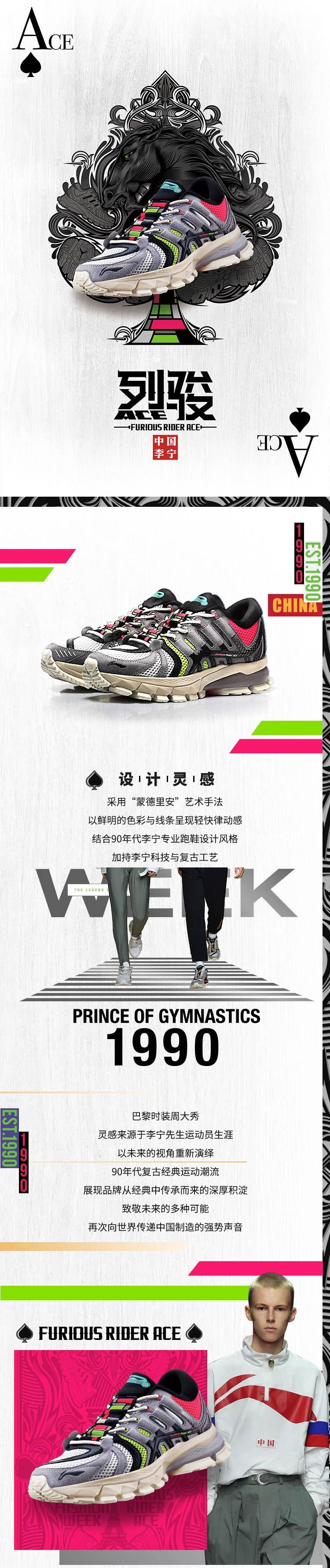 Paris Fashion Week FURIOUS RIDER ACE Men's Cushioning Running Sneakers